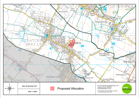 Pre Submission Local Plan 2015-2035 Site Allocation Map January 2018 Land Off Eaton Park Eaton Bray